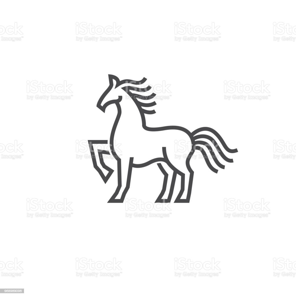 Horse Logo Icon Design In Simple Line Style Stock Illustration Download Image Now Istock