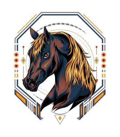 horse logo vector. animal sign template.