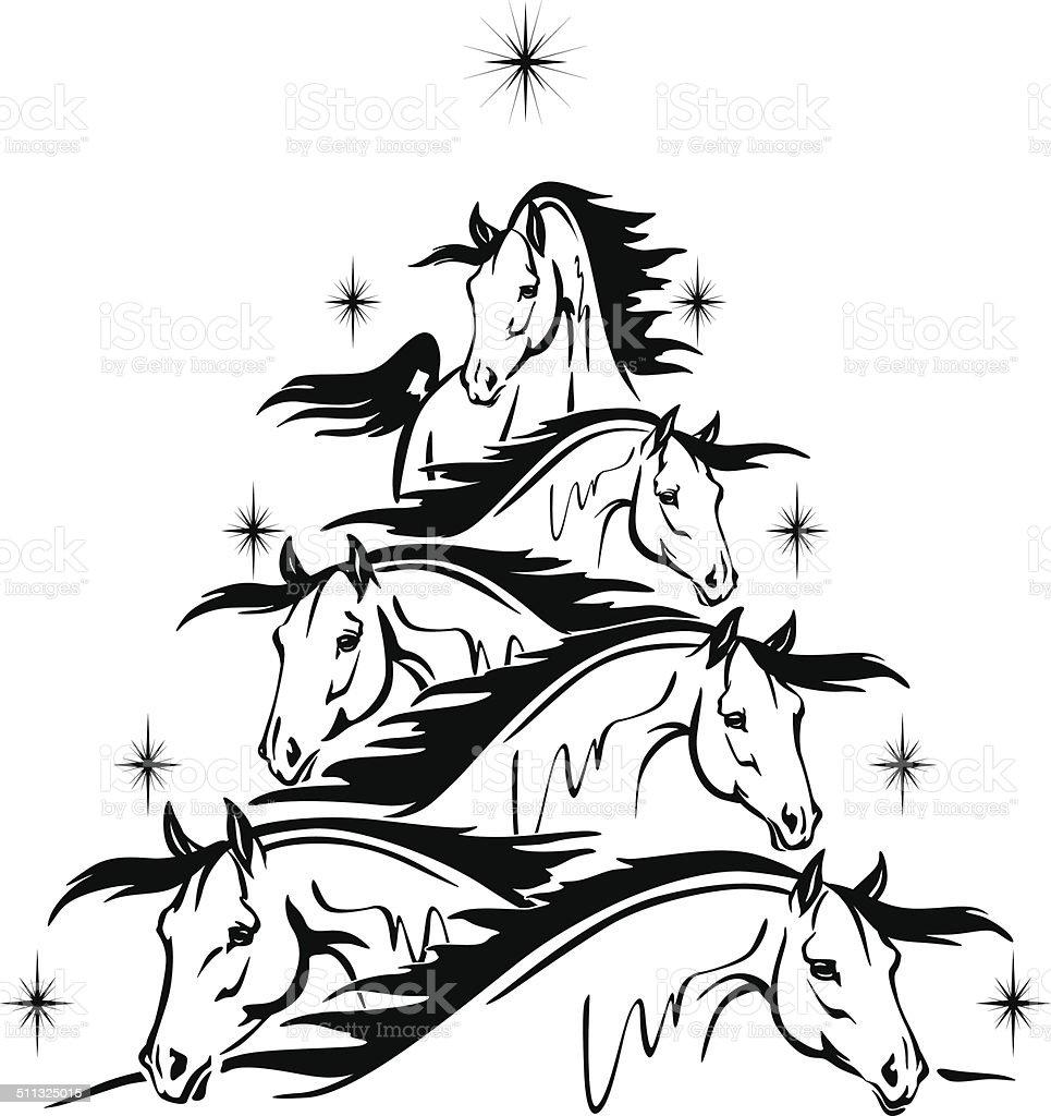 Horse Lovers Christmas Three 4 Horses Heads Stock Vector Art & More ...