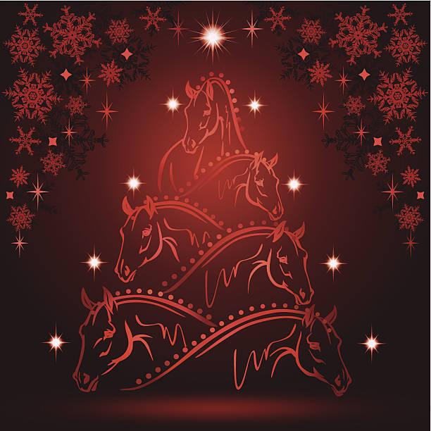 horse lovers christmas three 5 sport horses heads vector art illustration - Christmas Horse