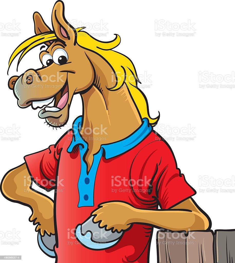 Horse mascot vector art illustration