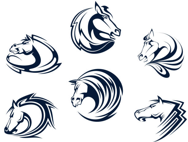 Horse mascots and emblems vector art illustration