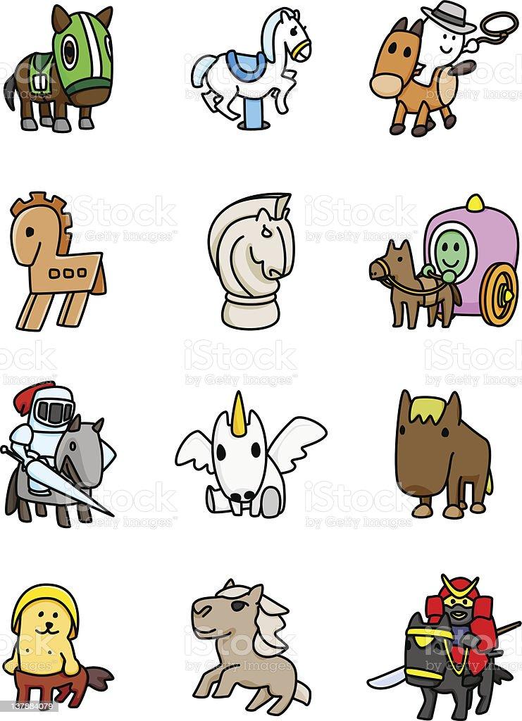 Horse Mascots vector art illustration