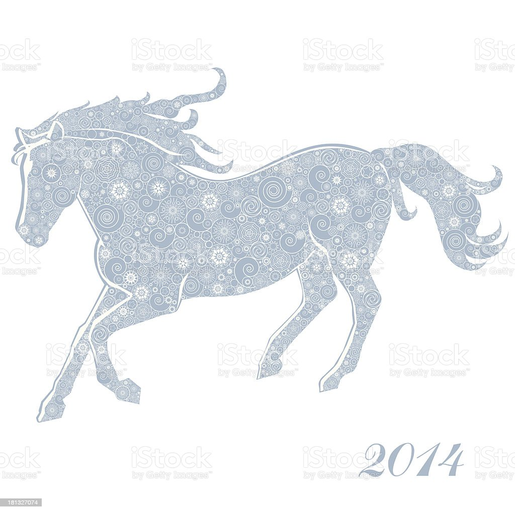 Horse of Snowflakes royalty-free stock vector art