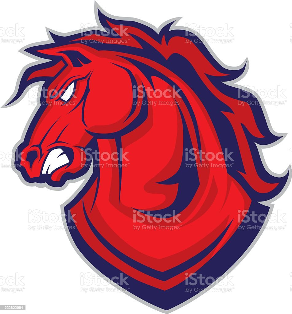 Horse or mustang head mascot vector art illustration