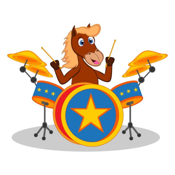 horse playing drum cartoon - talerz perkusyjny stock illustrations