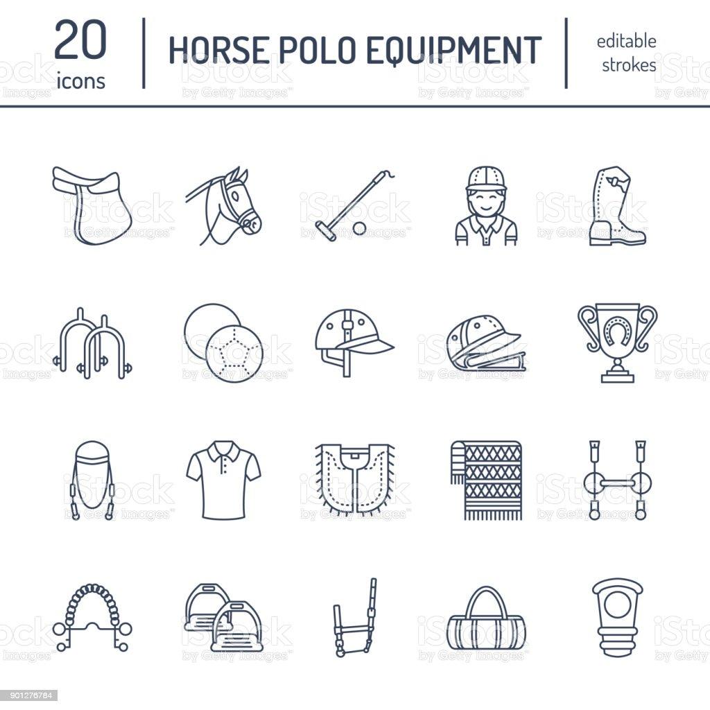 Pferd Polo Flache Linie Symbole Vektorillustration Der Pferde Spiel ...