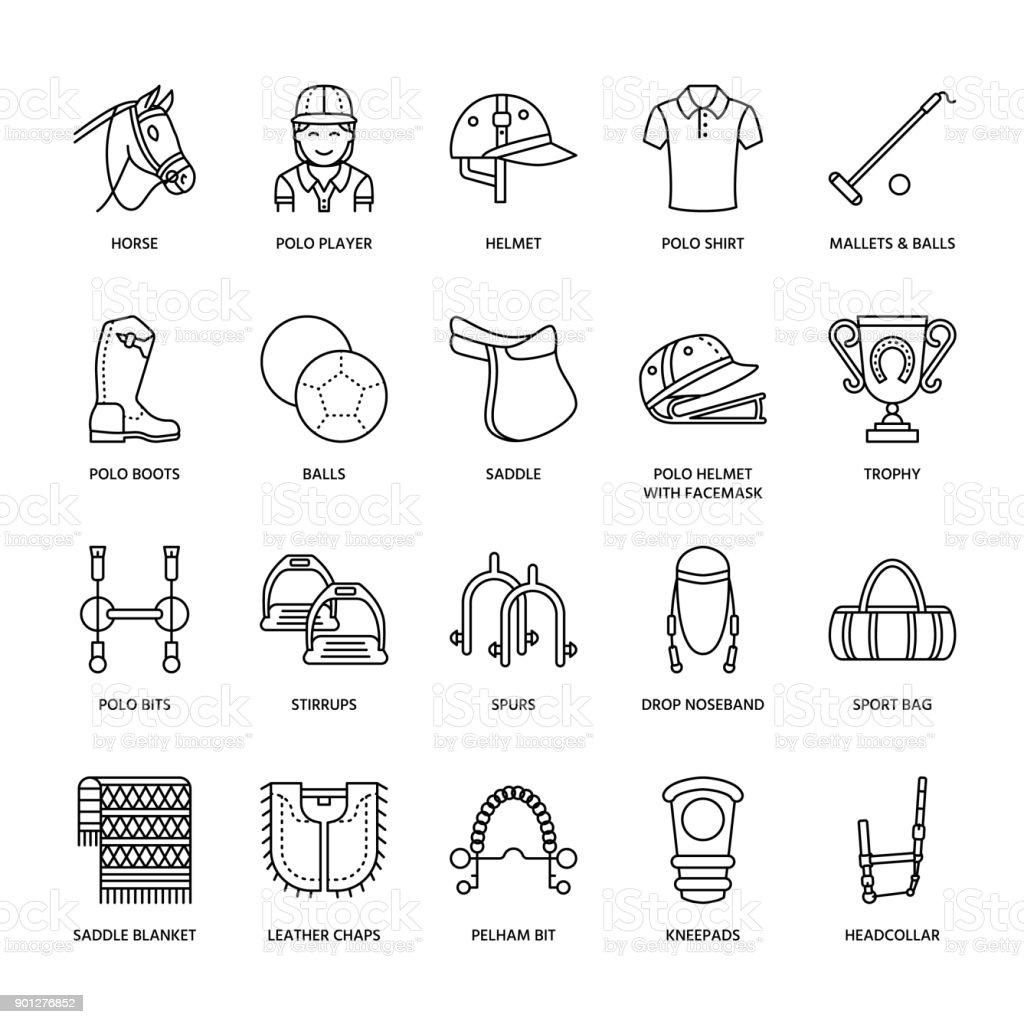 Ilustración de Iconos De Línea Plana Del Polo De Caballo Ilustración ...