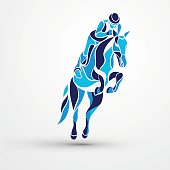 Horse race. Equestrian sport. Blue silhouette of racing with jockey