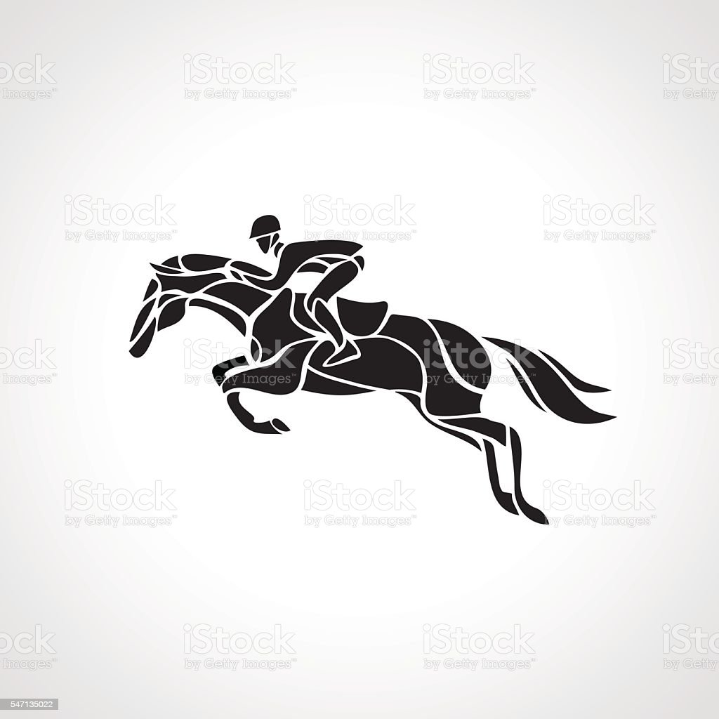 Horse Race Equestrian Sport Silhouette Of Racing With Jockey Royalty Free