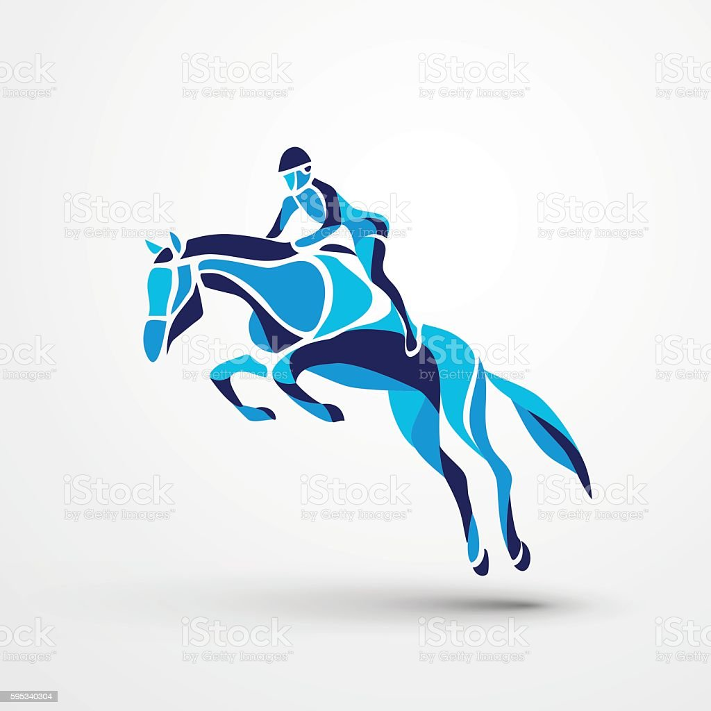 Horse race. Equestrian sport. Silhouette of racing with jockey vector art illustration