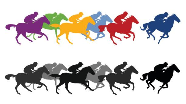Horse Race Silhouette Vector Art Illustration