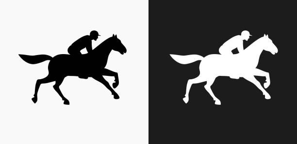 siyah ve beyaz vektör arka üstünde at racer kutsal kişilerin resmi - horse racing stock illustrations
