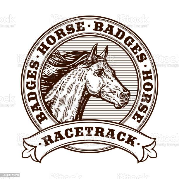 Horse racetrack badges graver badges vector illustration engraving vector id904915928?b=1&k=6&m=904915928&s=612x612&h=kwexdy9tf 3dazicidbu jtrdmpvxc ww2bvnndawry=