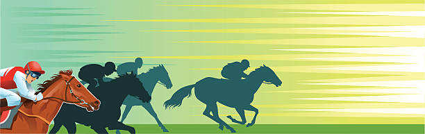 horse racing banner with copy space - horserace - horse racing stock illustrations