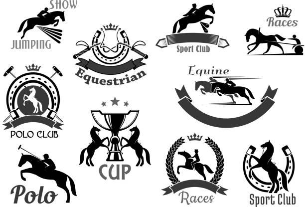 bildbanksillustrationer, clip art samt tecknat material och ikoner med horse racing club emblem eller vektor ikoner set - häst tävling