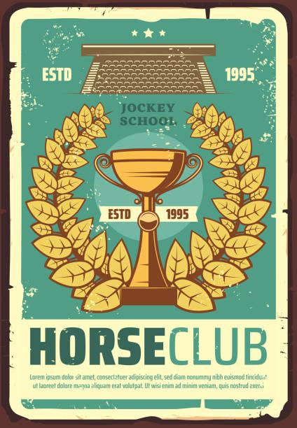 bildbanksillustrationer, clip art samt tecknat material och ikoner med horse racing club affisch med lagerkrans - häst tävling