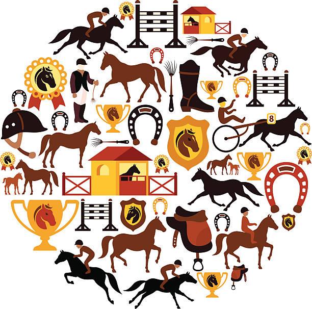 bildbanksillustrationer, clip art samt tecknat material och ikoner med horse racing collage - häst tävling