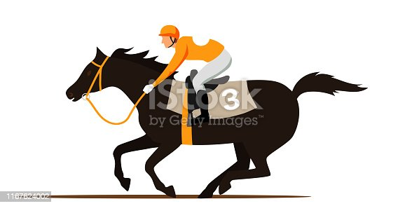 Horse racing competition flat vector illustration. Competitor cartoon character. Professional jockey, rider on thoroughbred racehorse back. Equestrian sport, derby