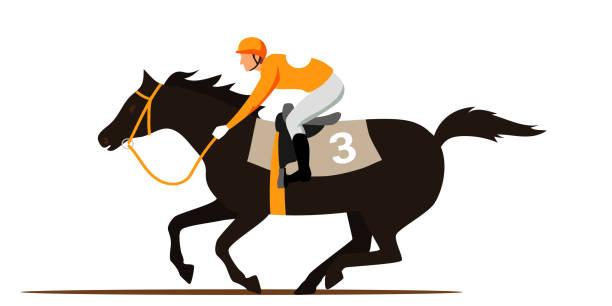 at yarışı rekabet düz vektör illüstrasyon - horse racing stock illustrations