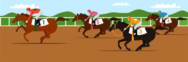 경마 대회 플랫 벡터 일러스트 - horse racing stock illustrations