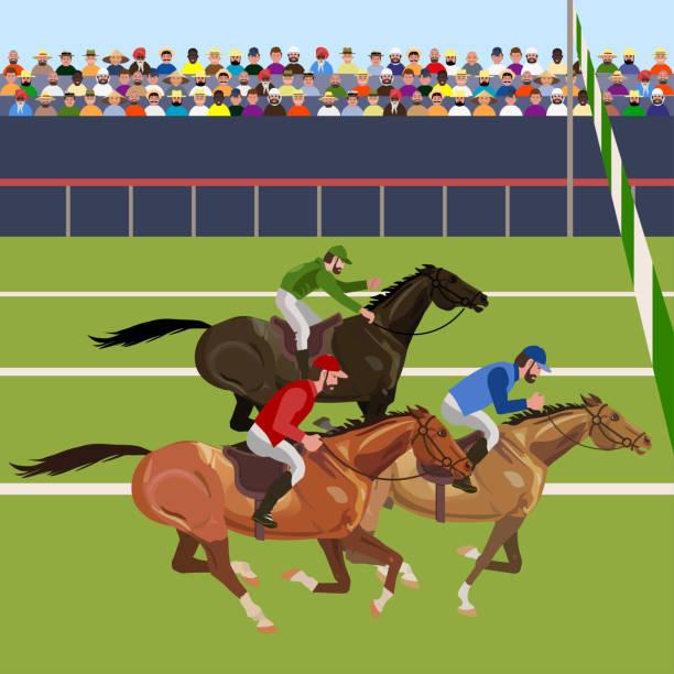 bildbanksillustrationer, clip art samt tecknat material och ikoner med horse racing tävling - häst tävling