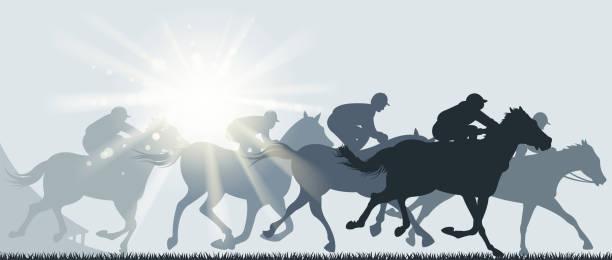말 경주 일 - horse racing stock illustrations
