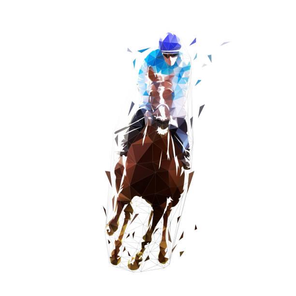 경마, 승마. 절연 된 낮은 폴리 벡터 그림 - horse racing stock illustrations