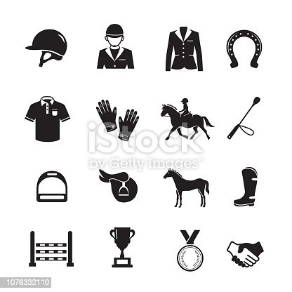 Horse Racing Icon, Set of 16 editable filled, Simple clearly defined shapes in one color.