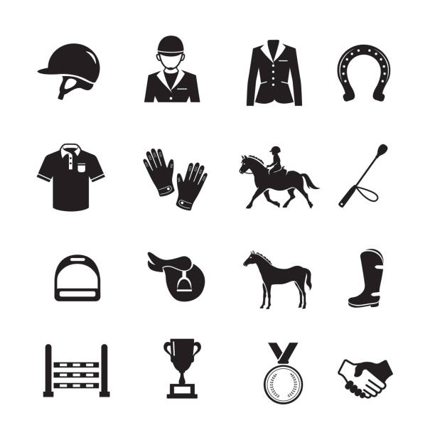 Horse Racing Icon Horse Racing Icon, Set of 16 editable filled, Simple clearly defined shapes in one color. horseshoe stock illustrations
