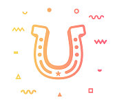 Horse racing outline style icon design with decorations and gradient color. Line vector icon illustration for modern infographics, mobile designs and web banners.