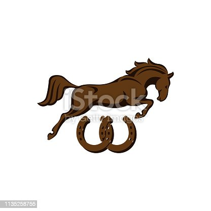 Horse racing logo template. Vector racer or rearing mustang and running stallion head for equine sport races or rides and equestrian contest EPS 10