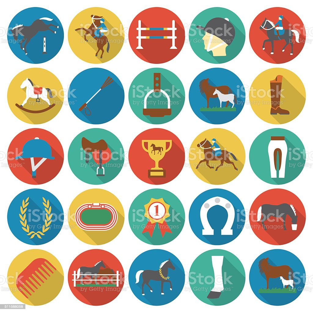 Horse, racing, racetrack 25 flat icons. vector art illustration