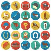 Horse, racing, racetrack 25 flat icons.