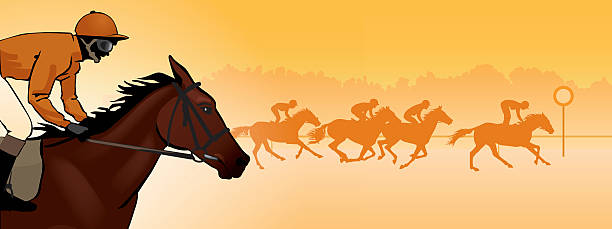 Horse Racing Silhouette Color Image Vector Art Illustration