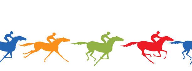 말 레이싱 실루엣 원활한 테두리입니다. 말과 기 수 - horse racing stock illustrations