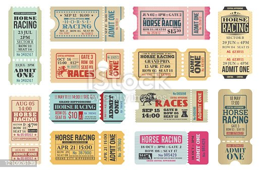 Horse racing ticket vector templates of equestrian sport competition. Hippodrome event admit one cards with race horse animals, jockey riders and racing flags, old paper tickets and invitations design