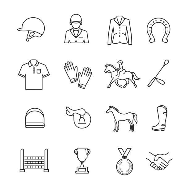 at yarışı i̇nce çizgi simgesi - horse racing stock illustrations