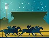 Horse Racing Under Lights