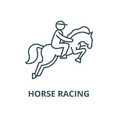 Horse racing vector line icon, outline concept, linear sign