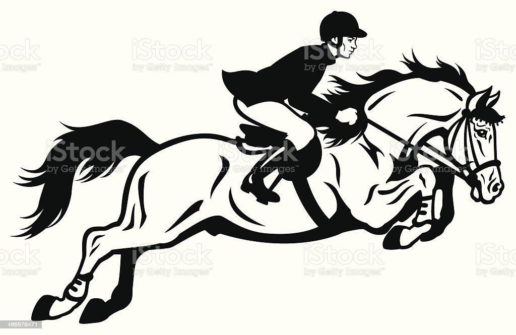 Horse Rider Black White Stock Illustration Download Image Now Istock