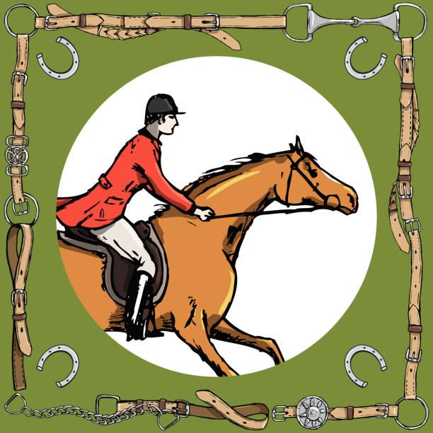reiter in ledergürtelrahmen mit bit, hufeisen. reitsport fuchs jagd reiter in roter jacke. - langstreckenlauf stock-grafiken, -clipart, -cartoons und -symbole