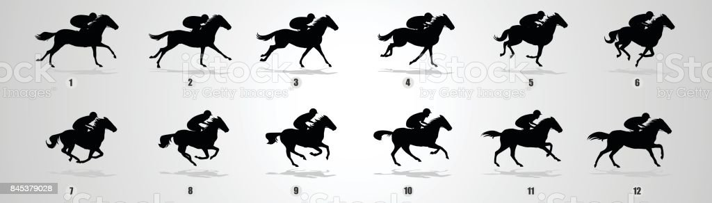 Horse Rider run cycle silhouette vector art illustration