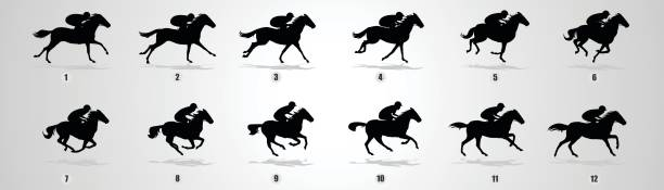 Horse Rider run cycle silhouette vector art illustration