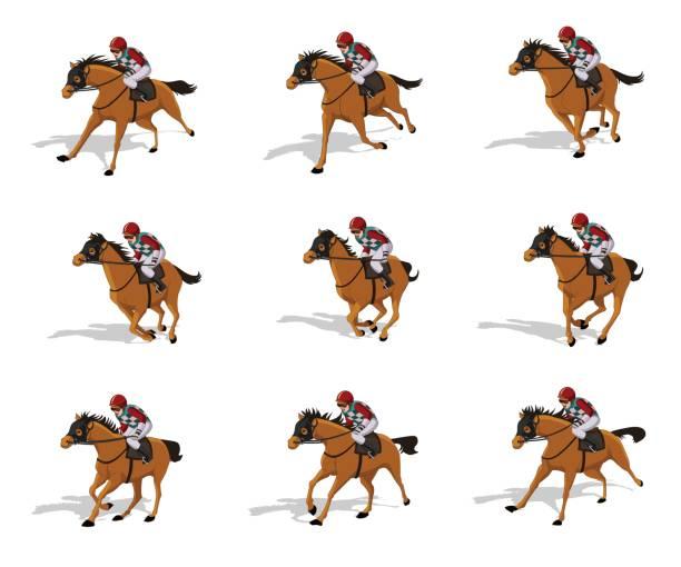 Horse Rider Run Cycle Vector Art Illustration