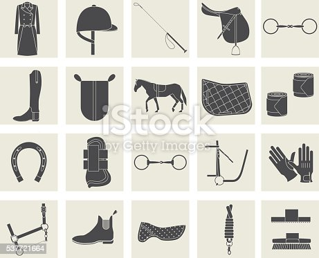 Collection of horseback riding gear and riding attire.