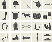 horse riding black icons