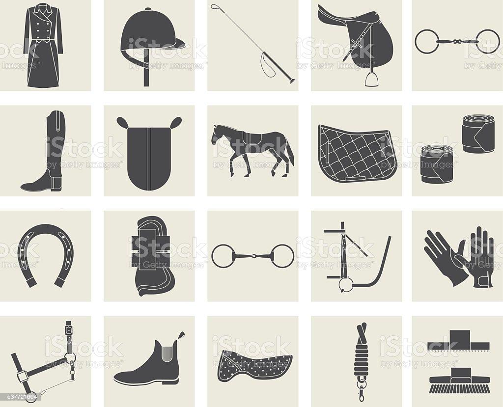 horse riding black icons vector art illustration