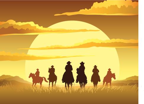 Horse riding cartoon sunset design