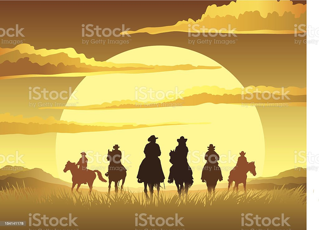 Horse riding cartoon sunset design vector art illustration